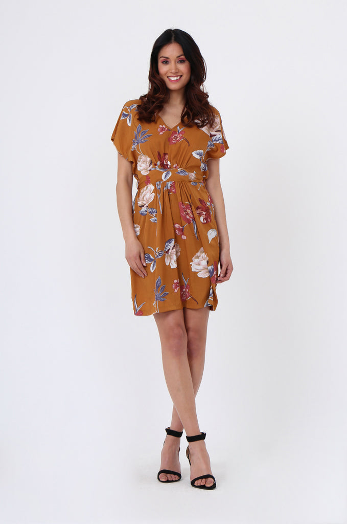 SGN1036-MUSTARD FLORAL TIE BACK DRESS view main view