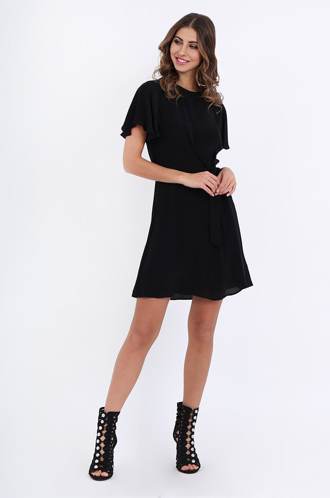 SJO2188-BLACK FLUTTER SLEEVE TIE FRONT DRESS