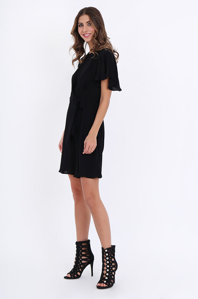 SJO2188-BLACK FLUTTER SLEEVE TIE FRONT DRESS view 2