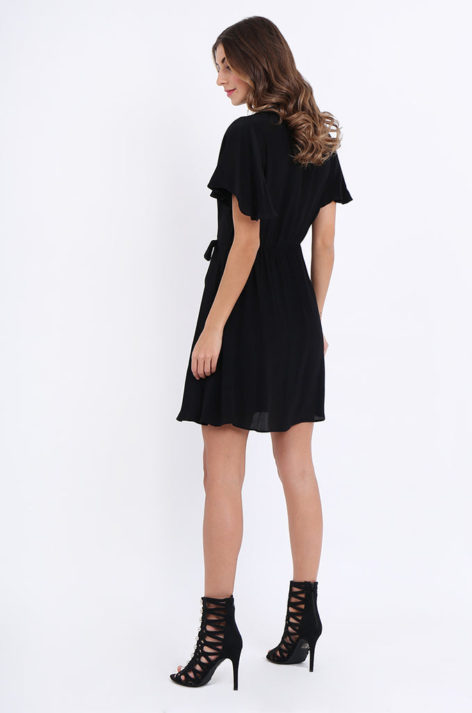 SJO2188-BLACK FLUTTER SLEEVE TIE FRONT DRESS view 3