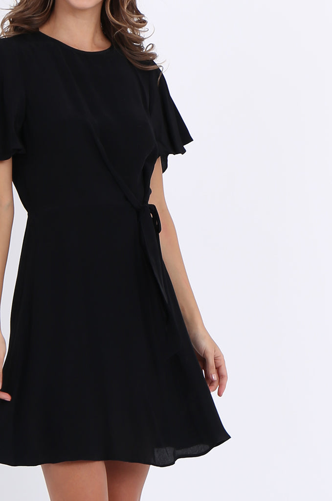 SJO2188-BLACK FLUTTER SLEEVE TIE FRONT DRESS view 4