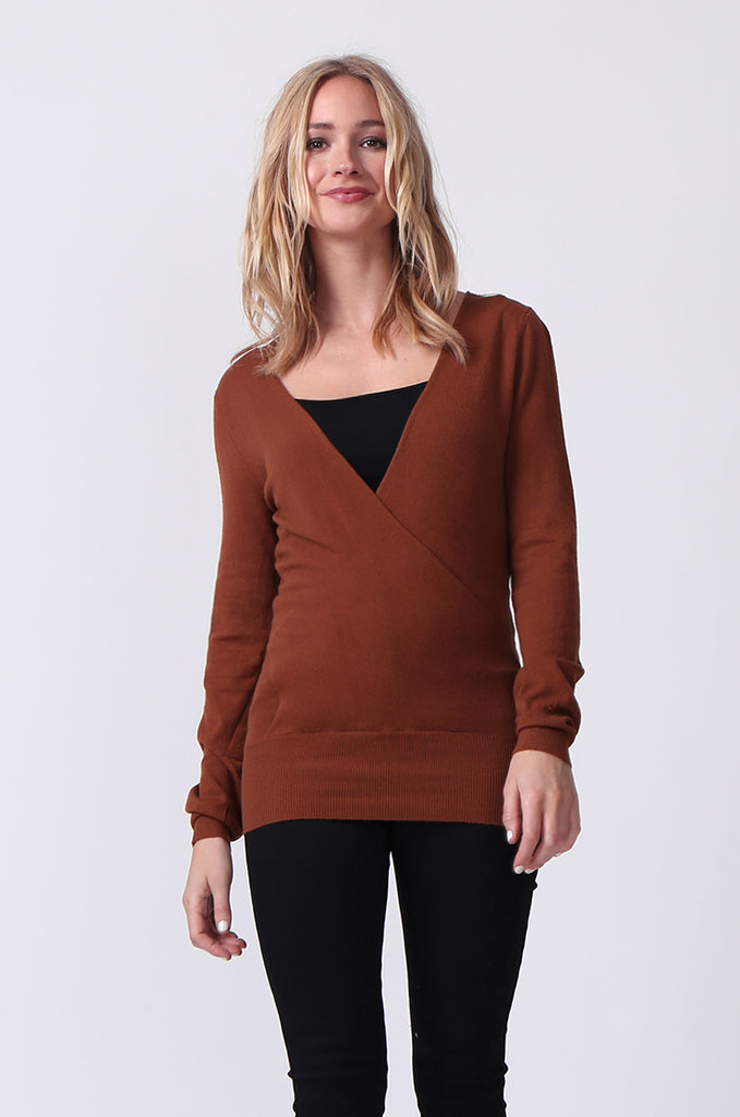 SJ0329-BROWN WRAP FRONT KEYHOLE BACK JUMPER