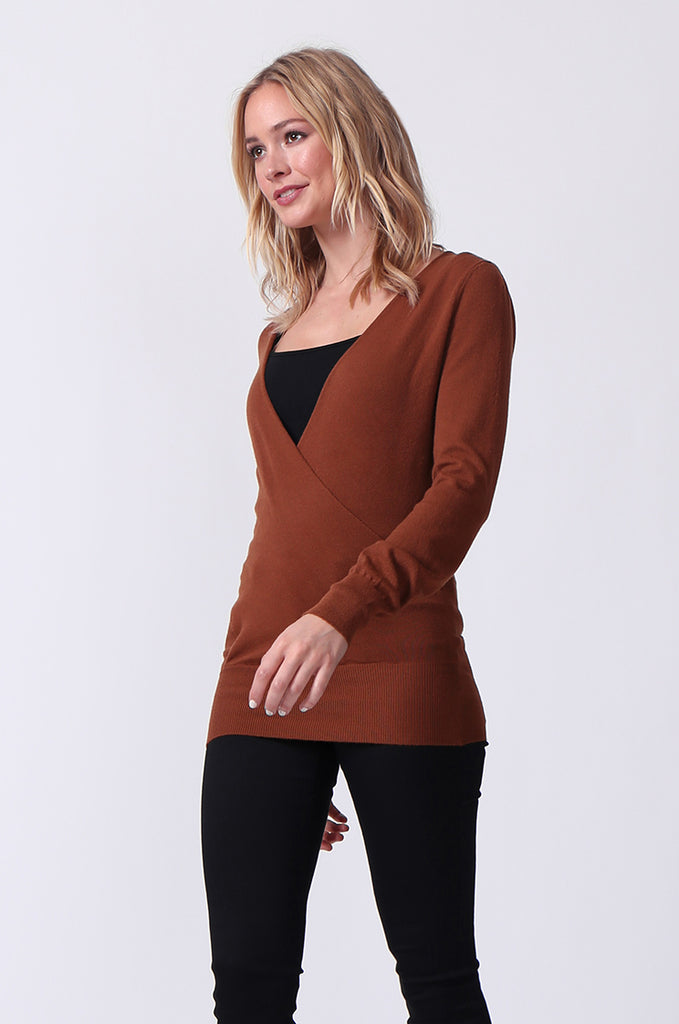 SJ0329-BROWN WRAP FRONT KEYHOLE BACK JUMPER view 2