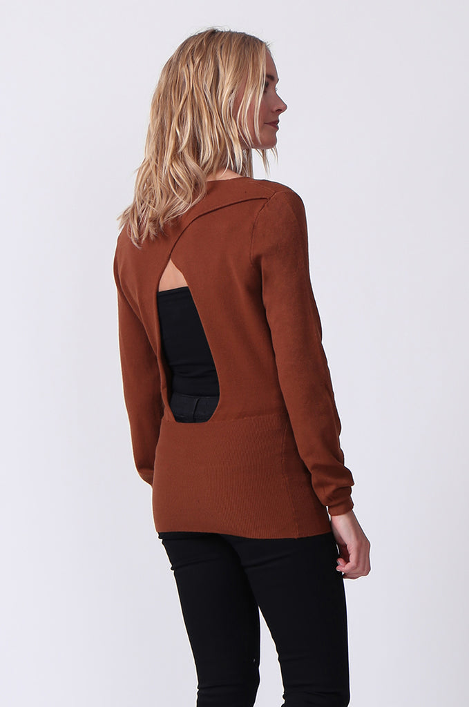 SJ0329-BROWN WRAP FRONT KEYHOLE BACK JUMPER view 3