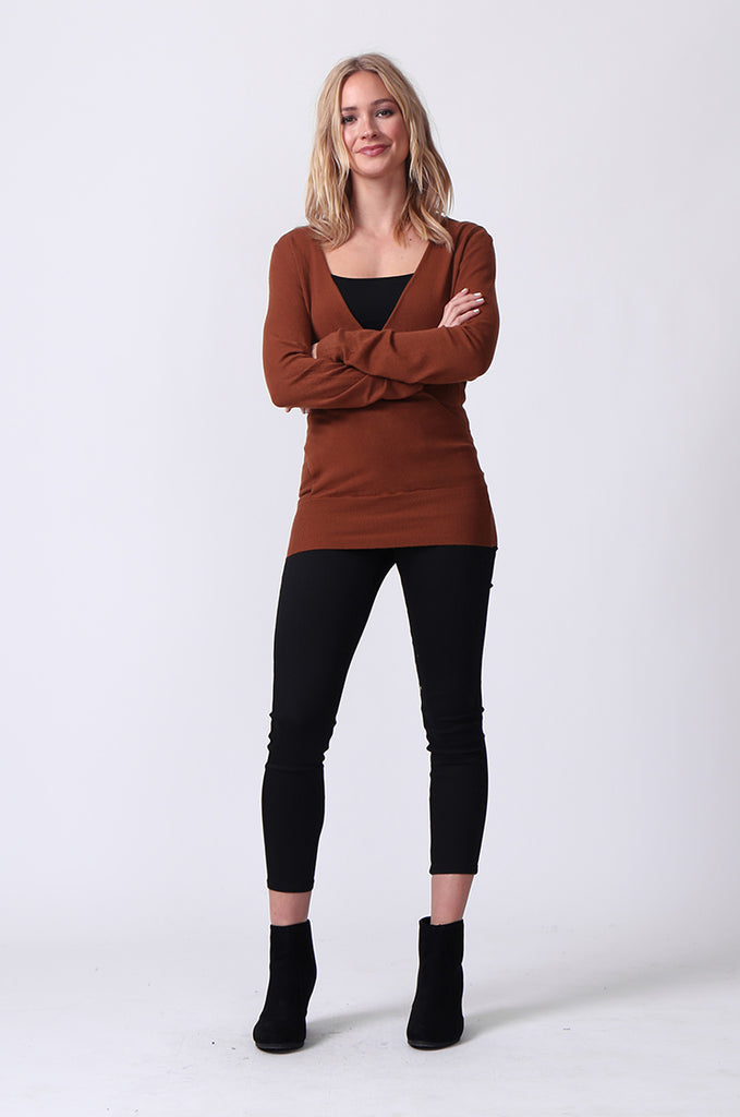 SJ0329-BROWN WRAP FRONT KEYHOLE BACK JUMPER view 4