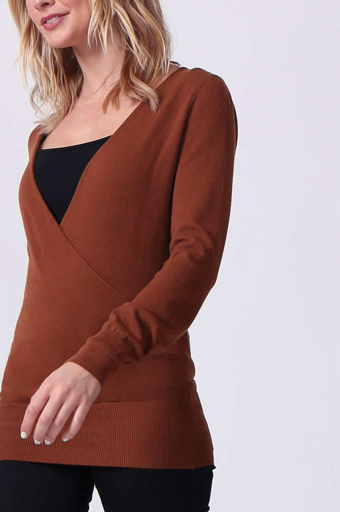 SJ0329-BROWN WRAP FRONT KEYHOLE BACK JUMPER view 5