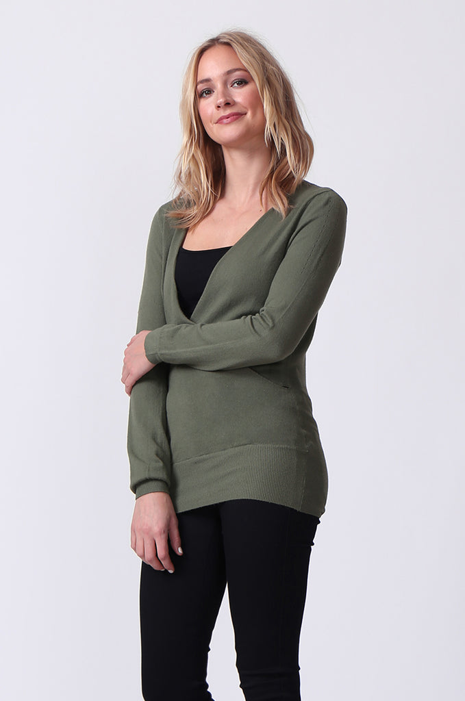 SJ0329-GREEN WRAPFRONT KEYHOLE BACK JUMPER view 2