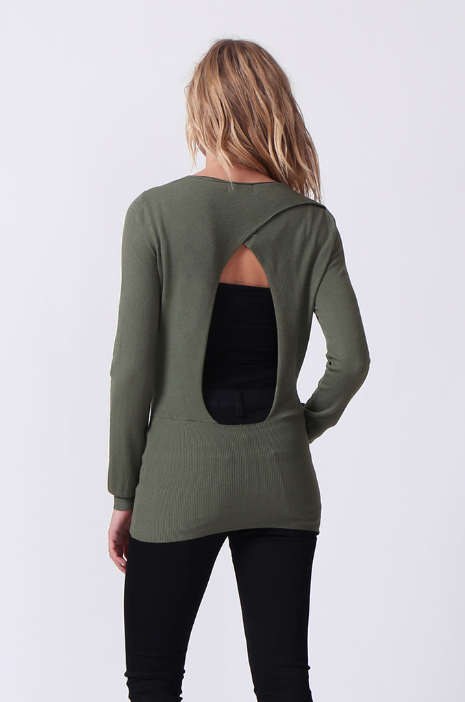 SJ0329-GREEN WRAPFRONT KEYHOLE BACK JUMPER view 3
