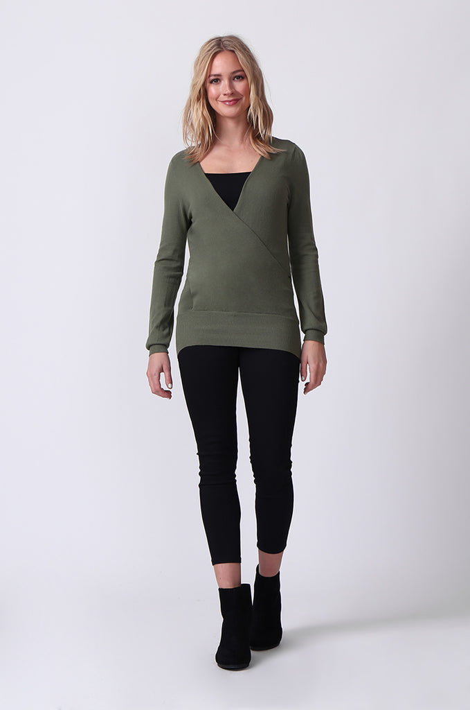 SJ0329-GREEN WRAPFRONT KEYHOLE BACK JUMPER view 4
