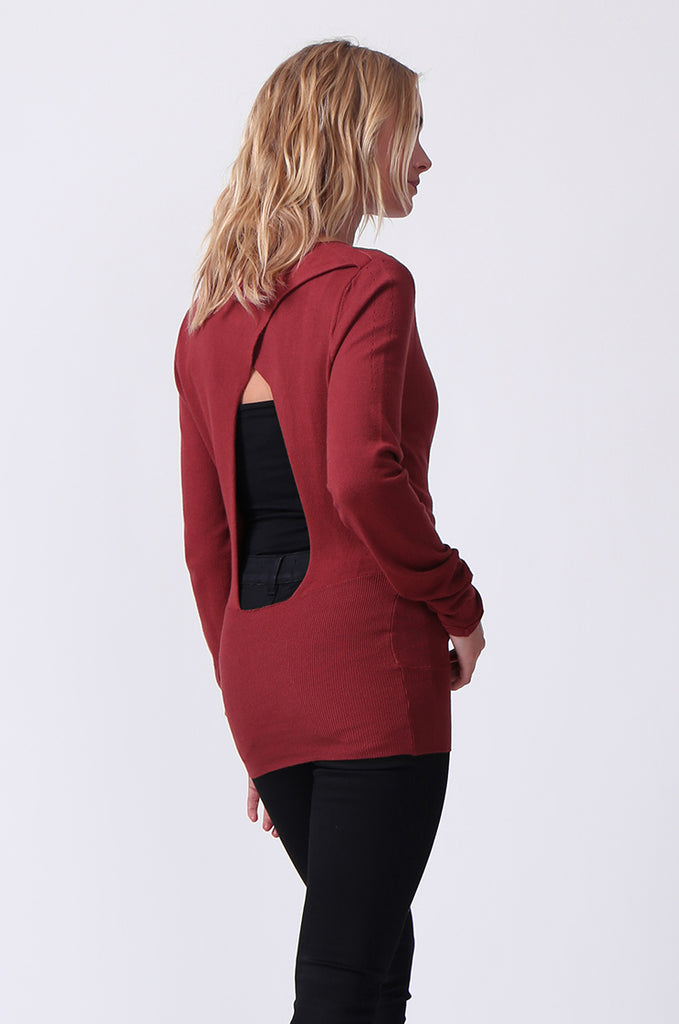 SJ0329-RED WRAPFRONT KEYHOLE BACK JUMPER view 3