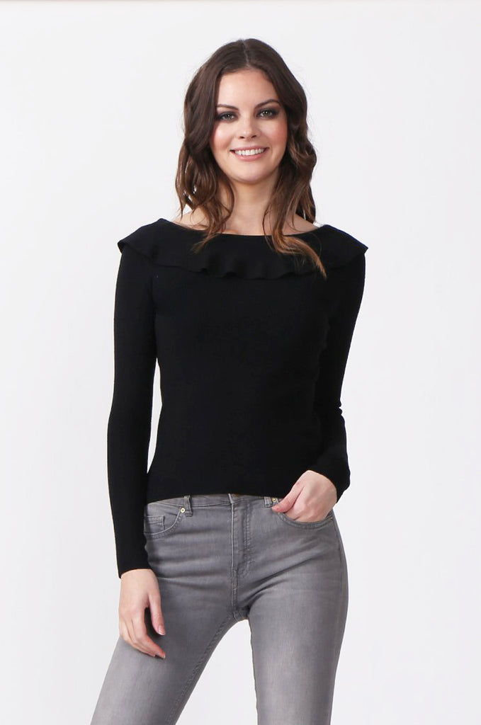 SJ0330-BLACK FRILL NECK LONG SLEEVE JUMPER view main view