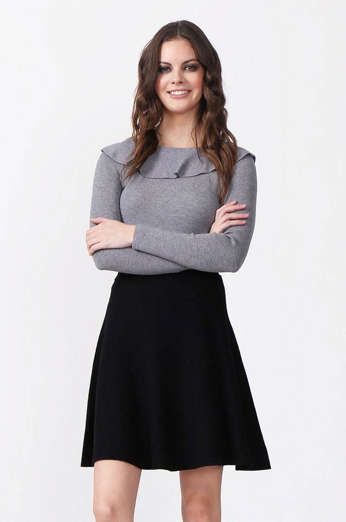 SJ0330-GREY FRILL NECK LONG SLEEVE JUMPER