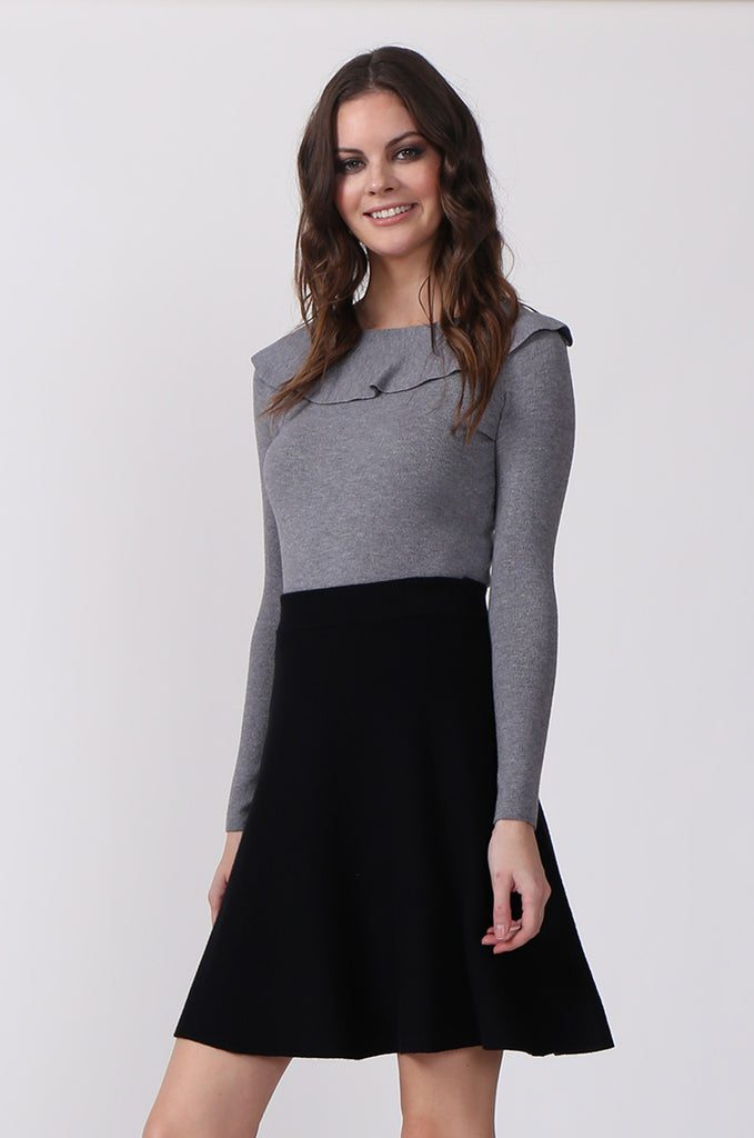 SJ0330-GREY FRILL NECK LONG SLEEVE JUMPER view 2