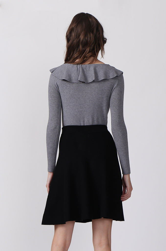 SJ0330-GREY FRILL NECK LONG SLEEVE JUMPER view 3