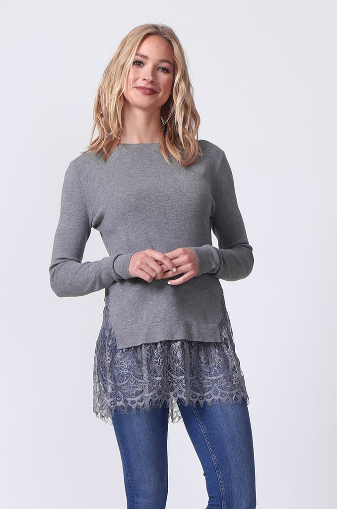 SJ0331-GREY LACE HEM JUMPER