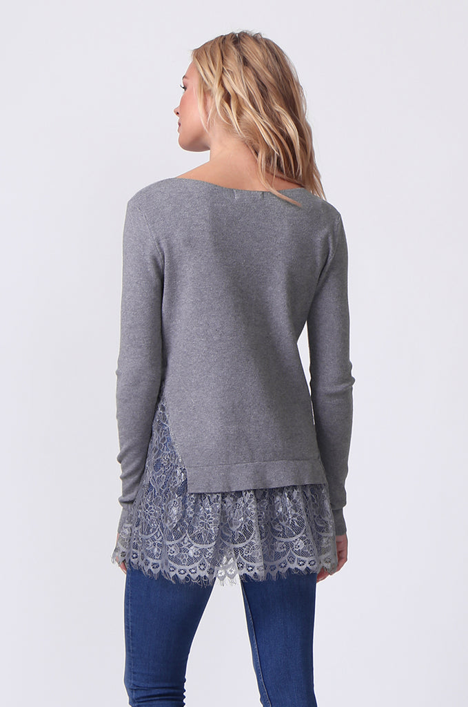 SJ0331-GREY LACE HEM JUMPER view 3