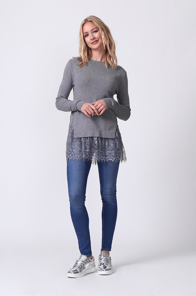 SJ0331-GREY LACE HEM JUMPER view 4