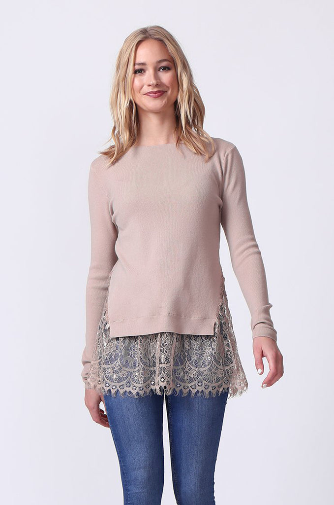 SJ0331-TAUPE LACE HEM JUMPER view main view