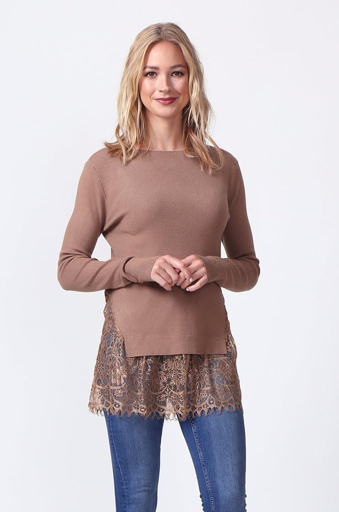 SJ0331-BROWN LACE HEM JUMPER