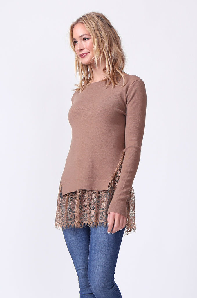 SJ0331-BROWN LACE HEM JUMPER view 2