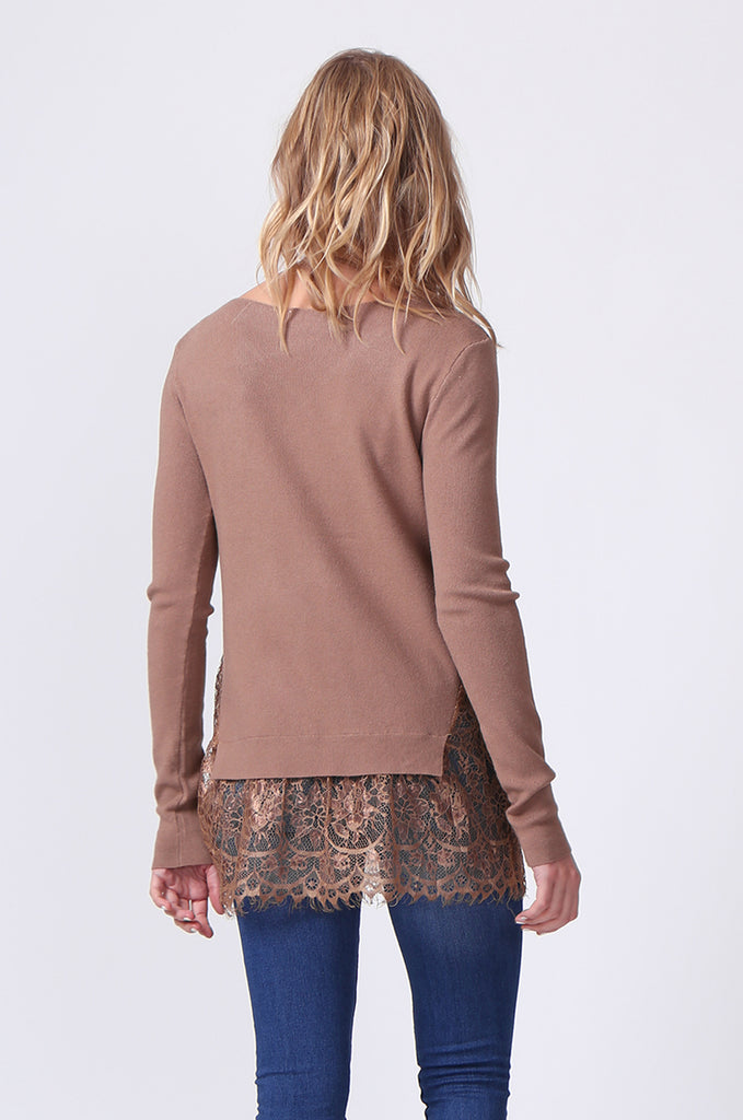 SJ0331-BROWN LACE HEM JUMPER view 3