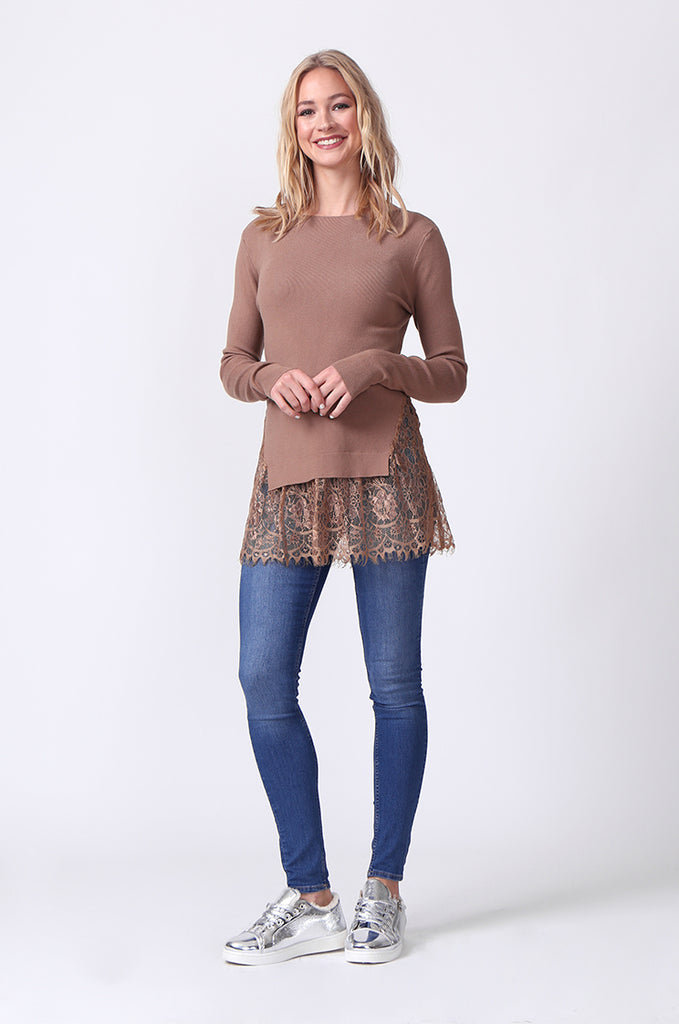 SJ0331-BROWN LACE HEM JUMPER view 4