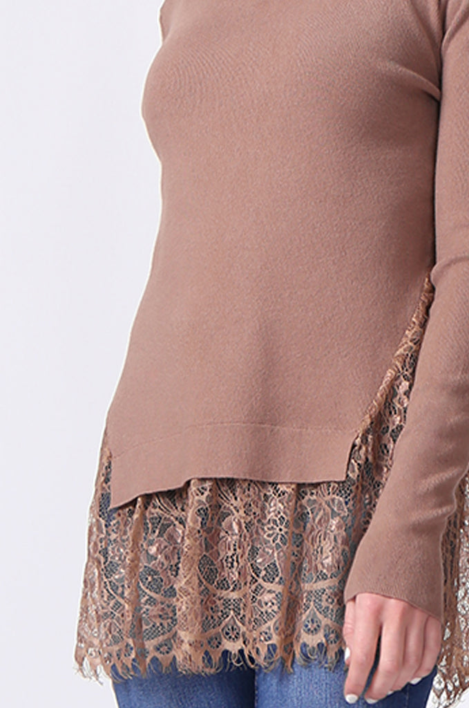 SJ0331-BROWN LACE HEM JUMPER view 5