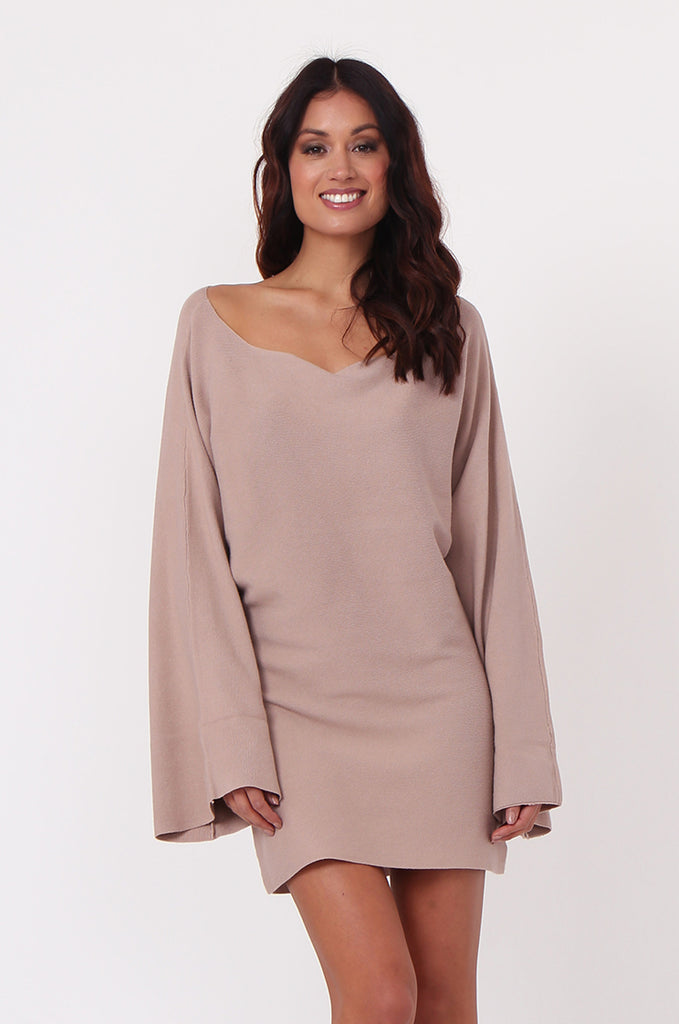 SJ0336-ROSE WIDE NECK BATWING JUMPER DRESS
