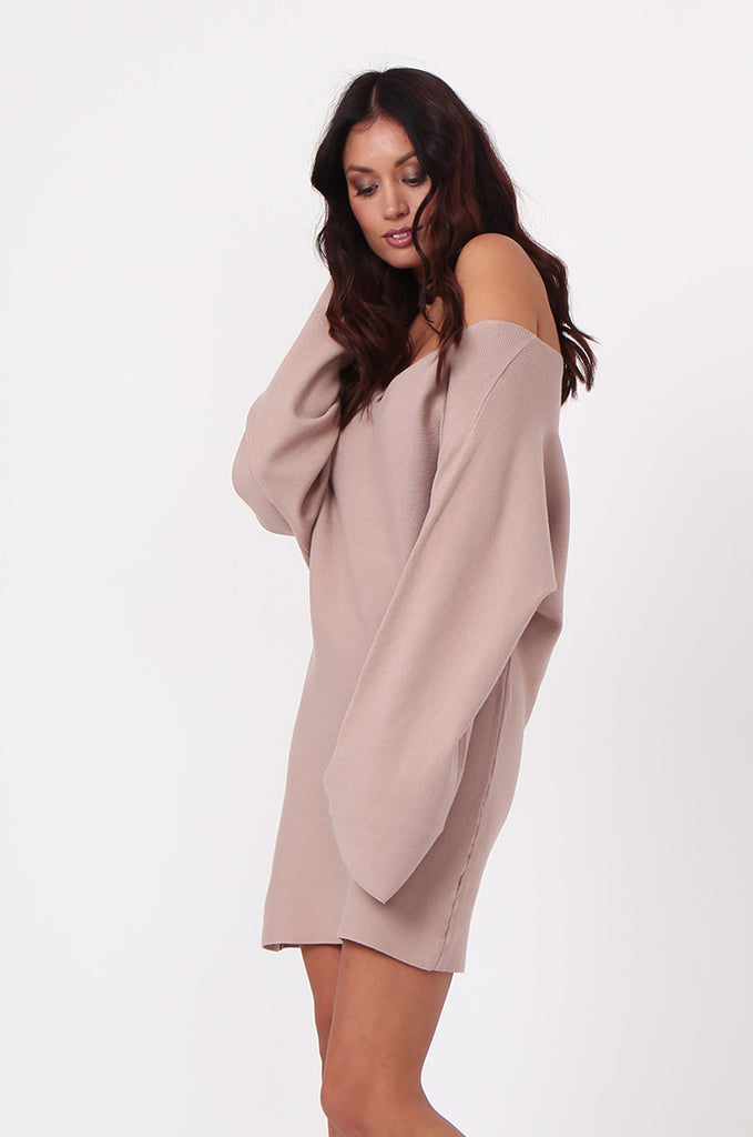 SJ0336-ROSE WIDE NECK BATWING JUMPER DRESS view 2