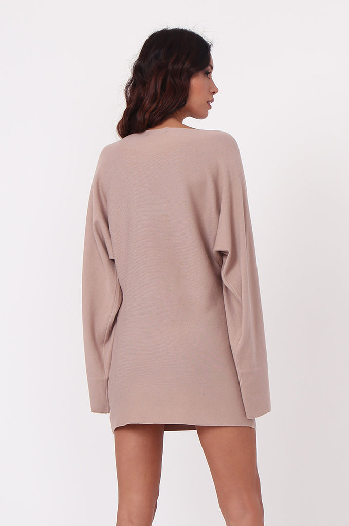 SJ0336-ROSE WIDE NECK BATWING JUMPER DRESS view 3