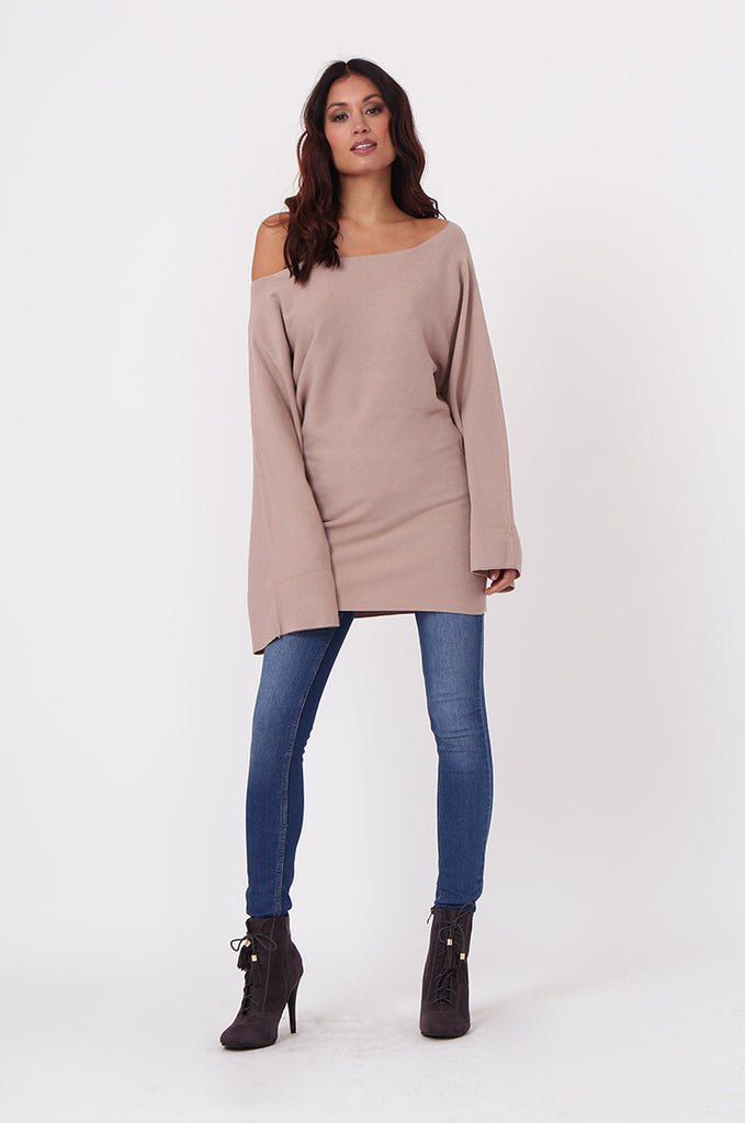 SJ0336-ROSE WIDE NECK BATWING JUMPER DRESS view 4