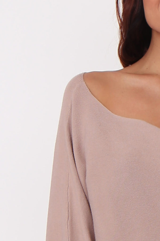 SJ0336-ROSE WIDE NECK BATWING JUMPER DRESS view 5