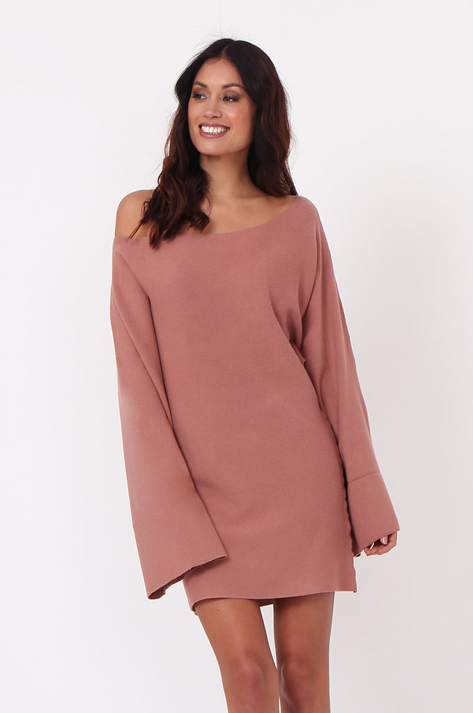 SJ0336-TAN WIDE NECK BATWING JUMPER DRESS