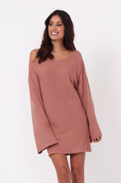 WIDE NECK BATWING JUMPER DRESS