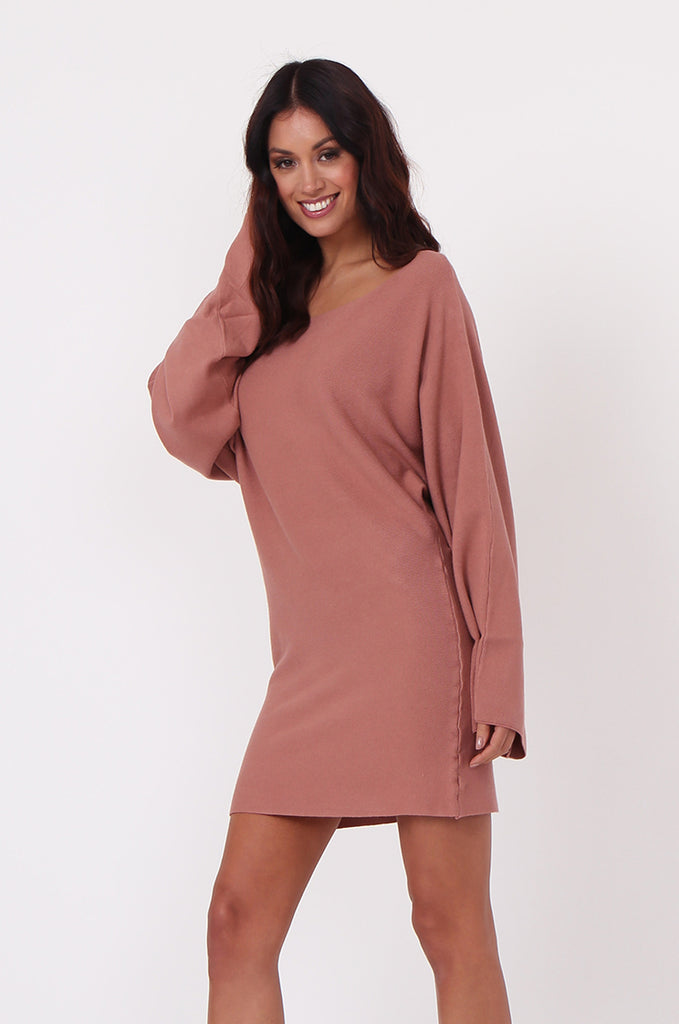SJ0336-TAN WIDE NECK BATWING JUMPER DRESS view 2