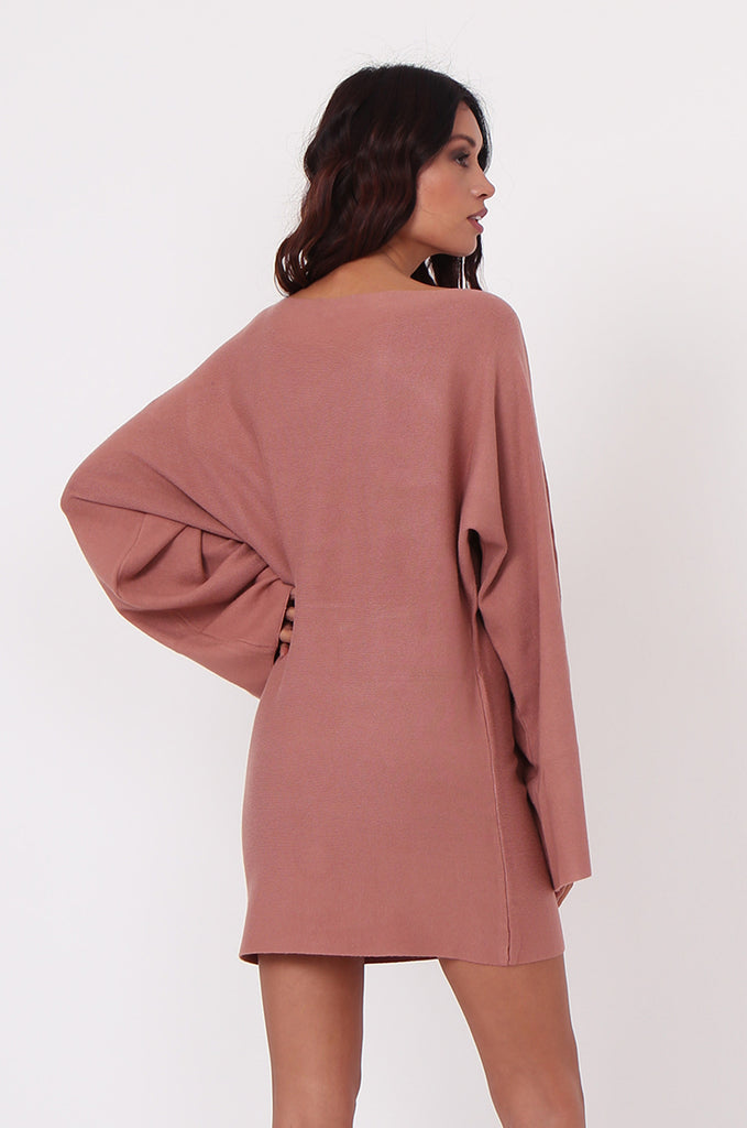 SJ0336-TAN WIDE NECK BATWING JUMPER DRESS view 3