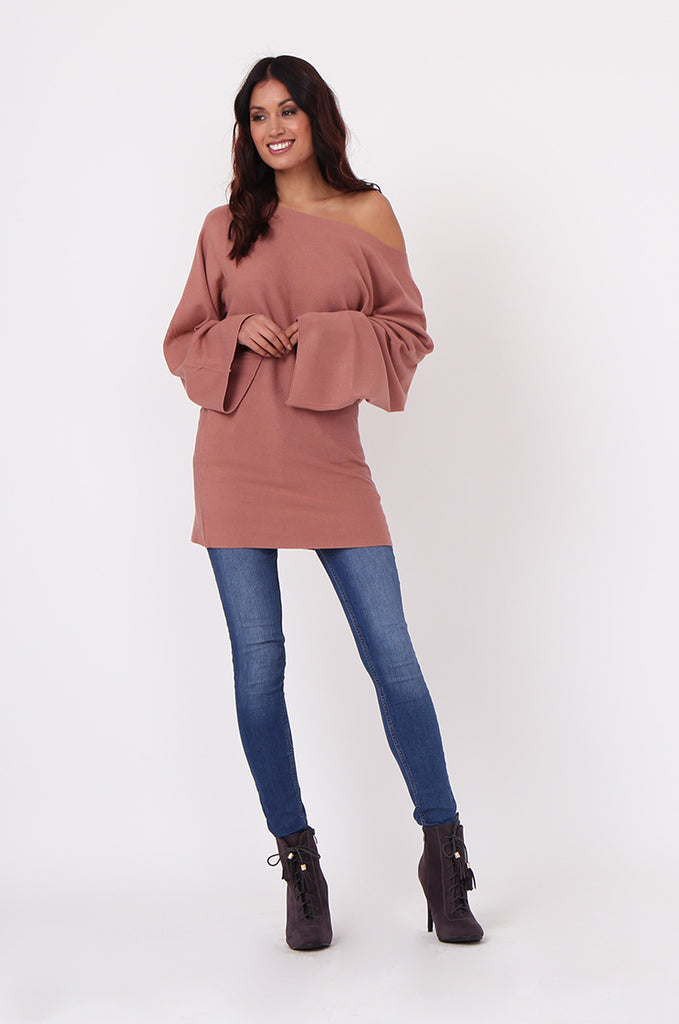 SJ0336-TAN WIDE NECK BATWING JUMPER DRESS view 4