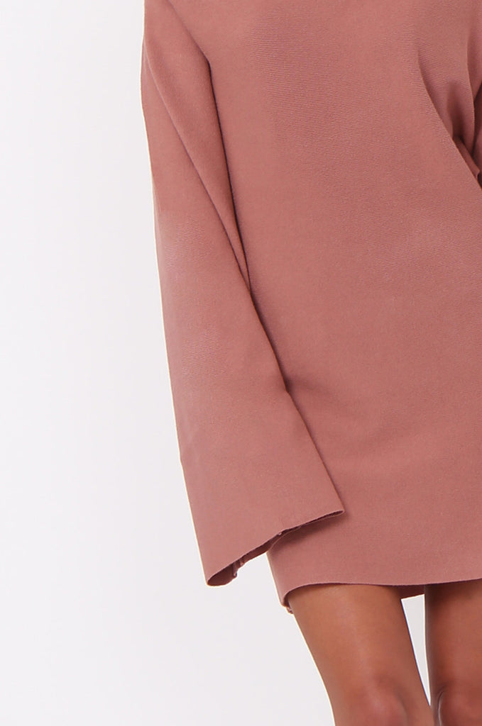 SJ0336-TAN WIDE NECK BATWING JUMPER DRESS view 5