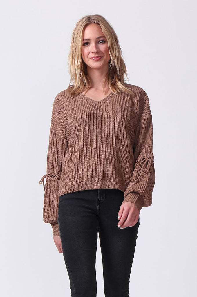 SJ0337-BROWN LACE UP SLEEVE BATWING JUMPER