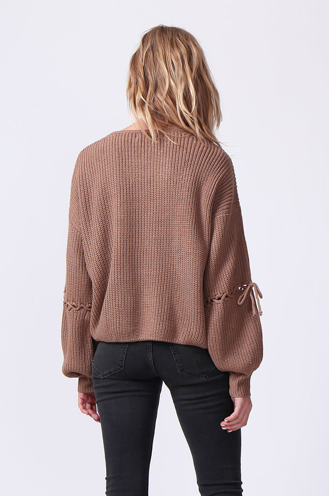 SJ0337-BROWN LACE UP SLEEVE BATWING JUMPER view 3