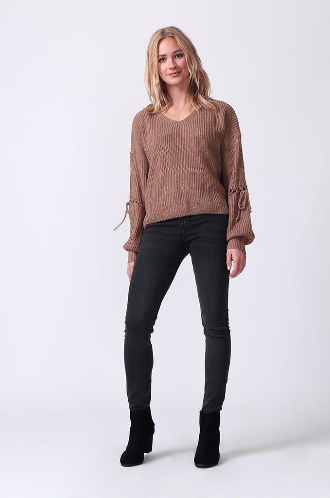 SJ0337-BROWN LACE UP SLEEVE BATWING JUMPER view 4
