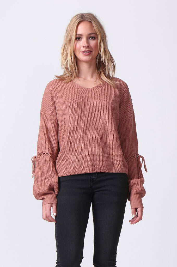 SJ0337-ROSE LACE UP SLEEVE BATWING JUMPER