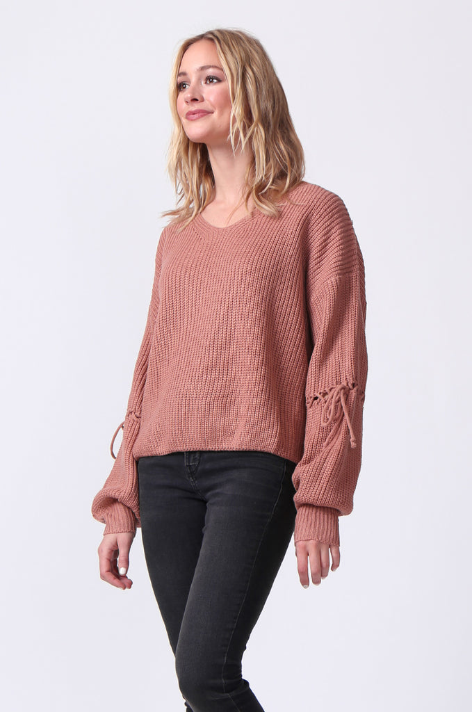 SJ0337-ROSE LACE UP SLEEVE BATWING JUMPER view 2