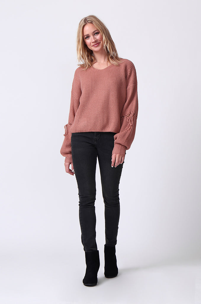SJ0337-ROSE LACE UP SLEEVE BATWING JUMPER view 4