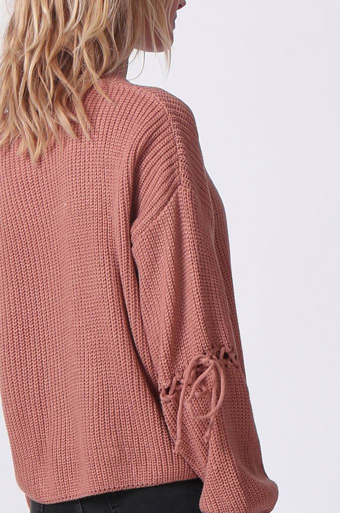 SJ0337-ROSE LACE UP SLEEVE BATWING JUMPER view 5