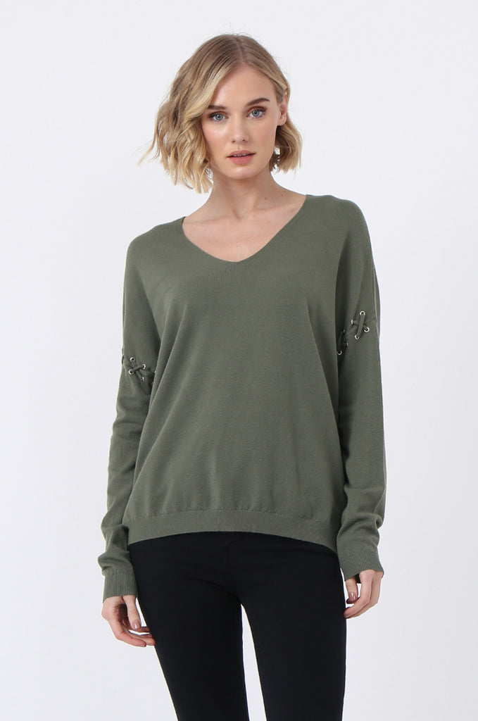 SJ0339-GREEN LACE UP SLEEVE PANELLED JUMPER