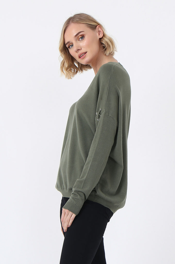 SJ0339-GREEN LACE UP SLEEVE PANELLED JUMPER view 2