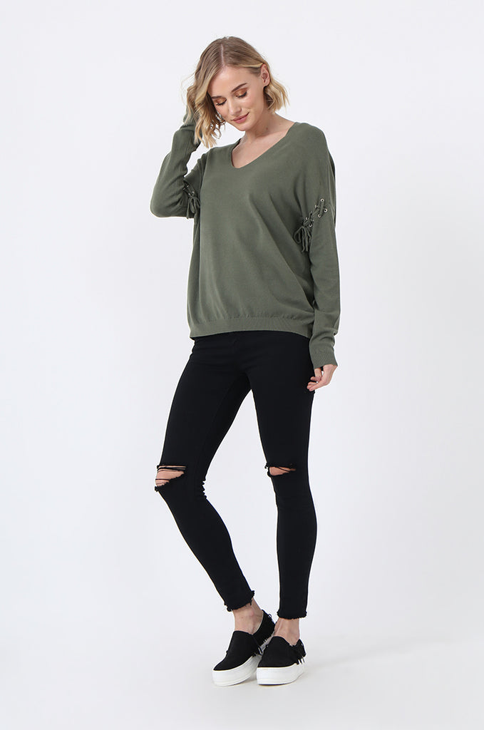 SJ0339-GREEN LACE UP SLEEVE PANELLED JUMPER view 4