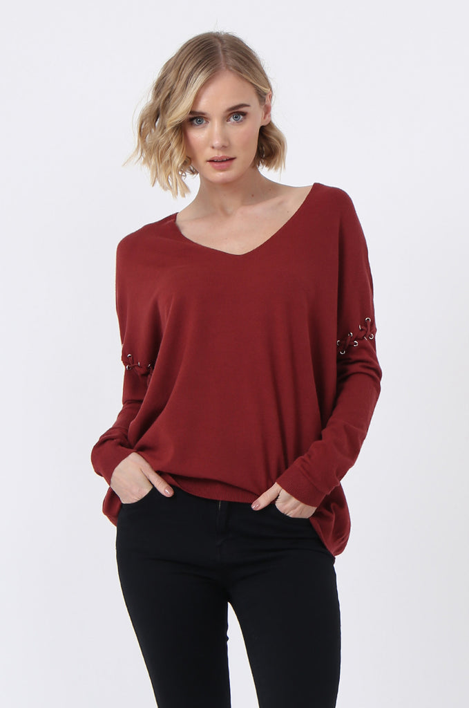 SJ0339-RED LACE UP SLEEVE PANELLED JUMPER