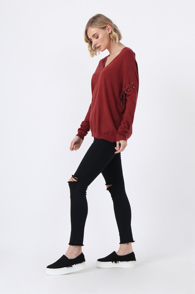 SJ0339-RED LACE UP SLEEVE PANELLED JUMPER view 4